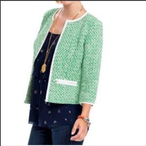 CAbi green and white tweed cropped blazer